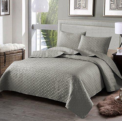 quilt set queen grey - 4