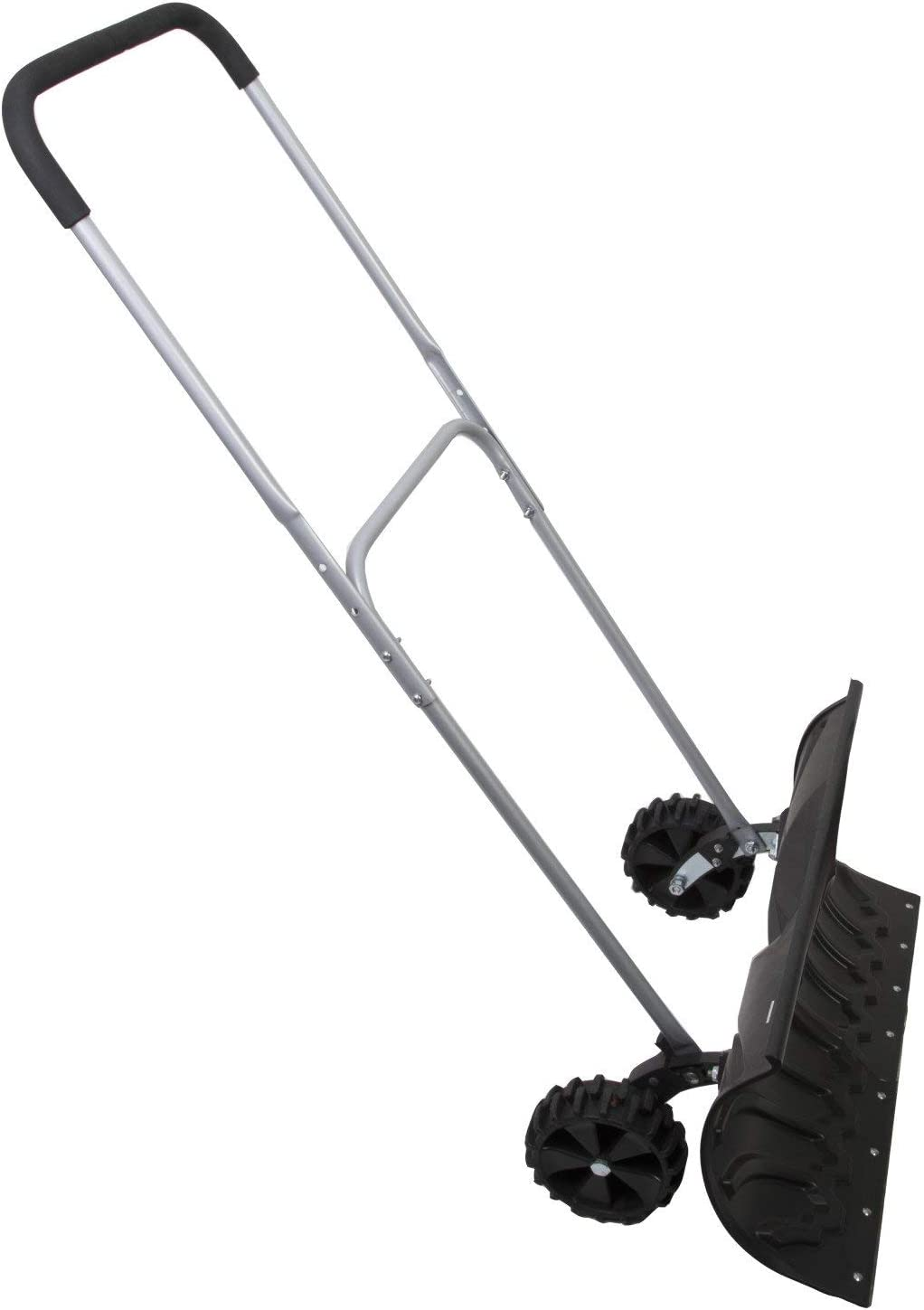 Heavy Duty Adjustable Rolling Snow Pusher With 6 Rubber Wheels