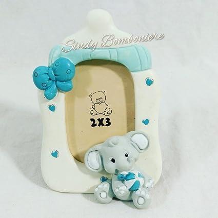 Detalle original para nacimiento de niño o bautizo, portafotos con forma de biberón con elefante
