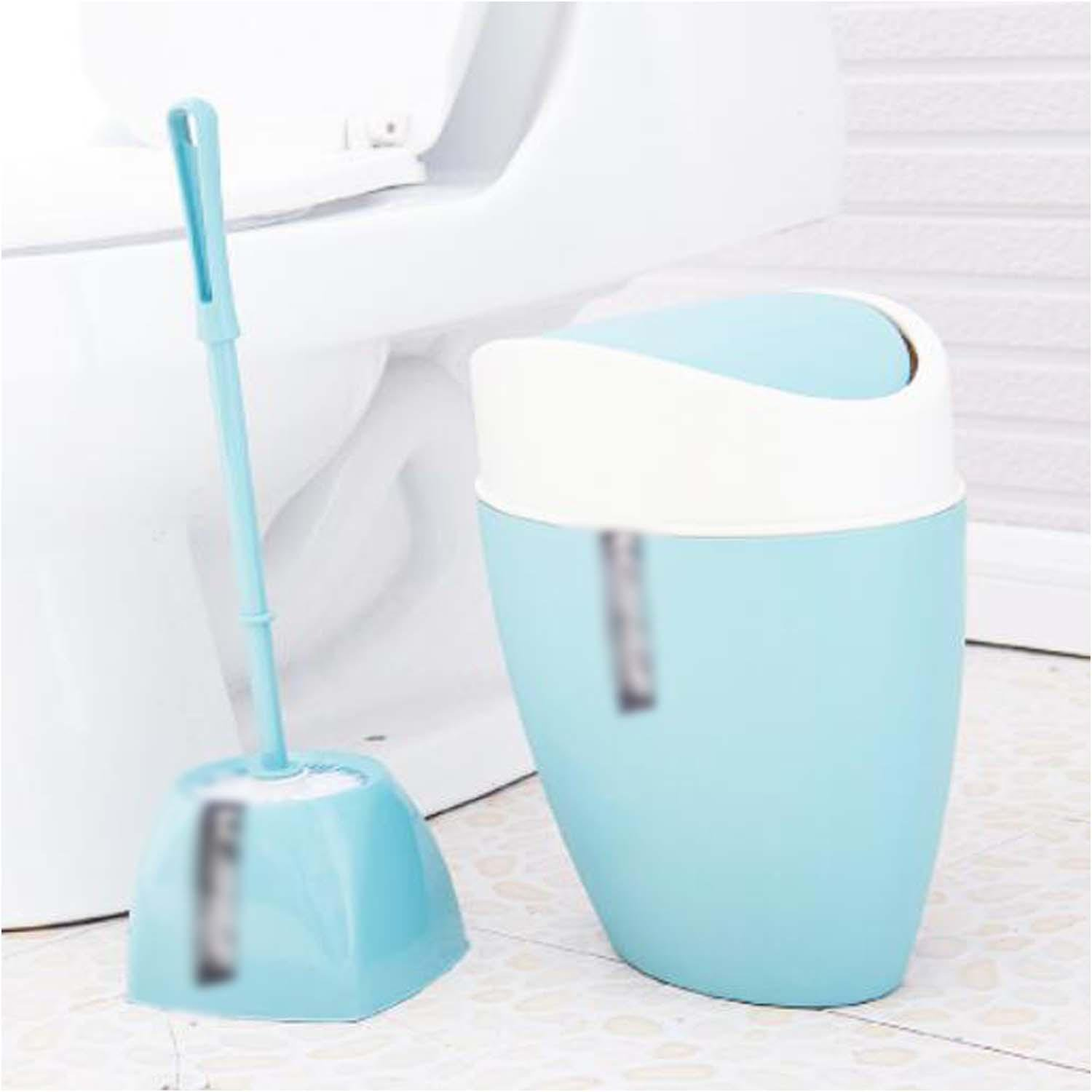 OOFYHOME Shaking trash cans, creative toilet trash cans toilet brush set, covered trash cans , A