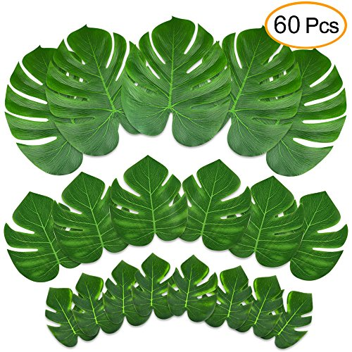 KUUQA 60 Pcs Tropical Leaves Party Decoration Artificial Tropical Palm Monstera Plant Leaves Imitation Leaf for Hawaiian Luau Aloha Party Jungle Theme BBQ Birthday Party Supplies 3 (Tropical Palm Dinner)