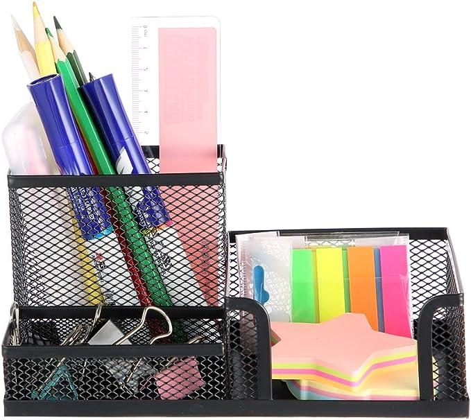 MOYOOA Pen Holder Mesh Pencil Holder Metal Pencil Holders Pen Organizer Black for Desk Office Pencil Holders