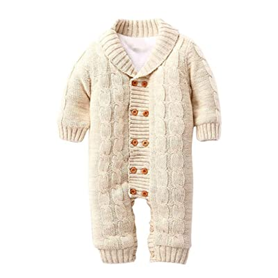 AutumnFall Baby Rompers, Newborn Button Lapel Knitted Thickened Sweater Jumpsuit