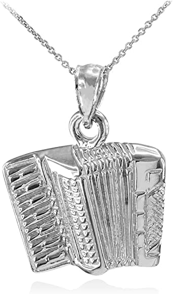 3D Optik Charm Anhänger Akkordeon Juwelier Qualität 925er Sterling Silber