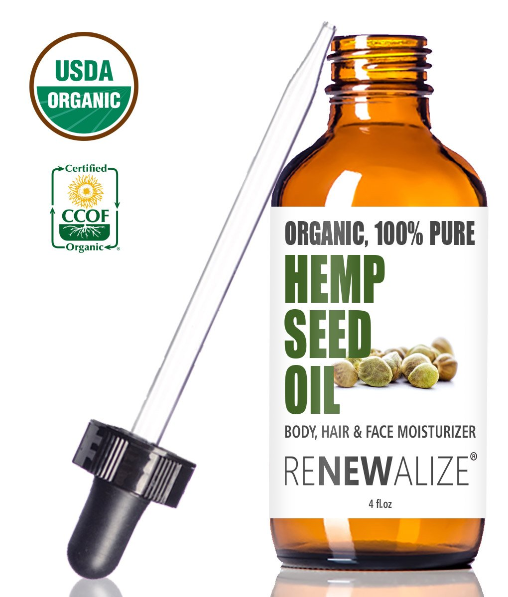Renewalize Certified Organic Hemp Seed Cleansing Oil - Face Cleanser and Moisturizer | 100% Pure Cold Pressed and Unrefined | Best Daily, Night time, Facial Regimen for Acne Pimple Prone Skin 4oz Hempoil