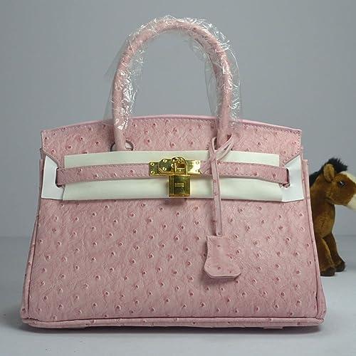 938ca7b3ff2f Faux Ostriche Skin Pattent Leather Birkin Inspired Tote Handbag with Gold  Metal Trim (Light Pink