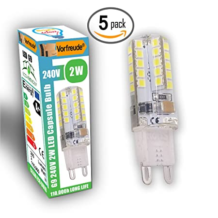 · Vorfreude® ▻ 5x 2W G9 LED Bulbs 240v ▻ Pack of 5 ▻ 110,000 ...