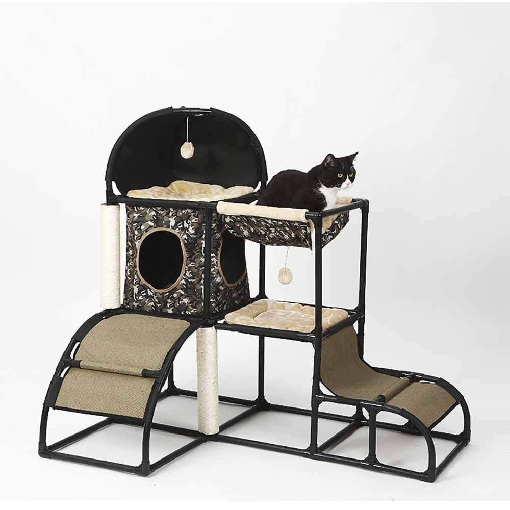 Camouflage  1 Camouflage  1 Deluxe Multi Cat Tower Multifunctional Removable cat Climbing Frame, Cat Toys, cat Jumping Taiwan, Cat nests, (Camouflage), Camouflage, 1 (color   Camouflage, Size    1)
