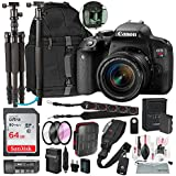 Canon EOS Rebel T7i DSLR Camera with EF-S 18-55mm f/4-5.6 IS Lens and 64GB + Tripod/Monopod + DSLR Backpack + Deluxe Premium Accessory Bundle & Travel Kit