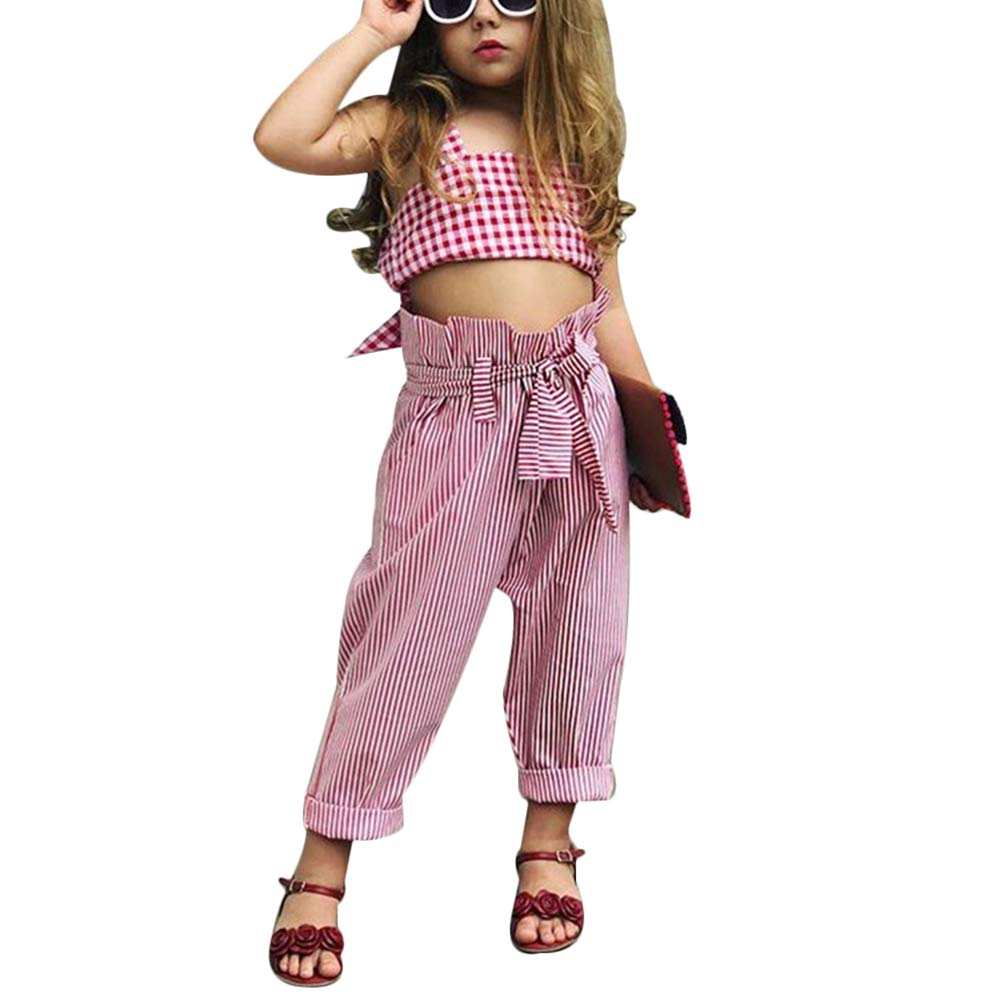 Stripe Belted Pants Set Verypoppa Little Girls 2 Piece Outfit Plaid Vest Tank Crop Top