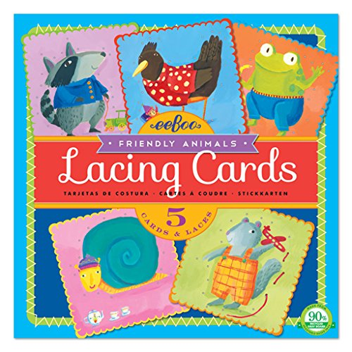 eeBoo Friendly Animals Lacing Cards