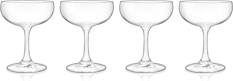 True Coupe, Set of 4 for Martini, Daiquiri, Manhattan, Cocktail Barware Glass, 7 oz