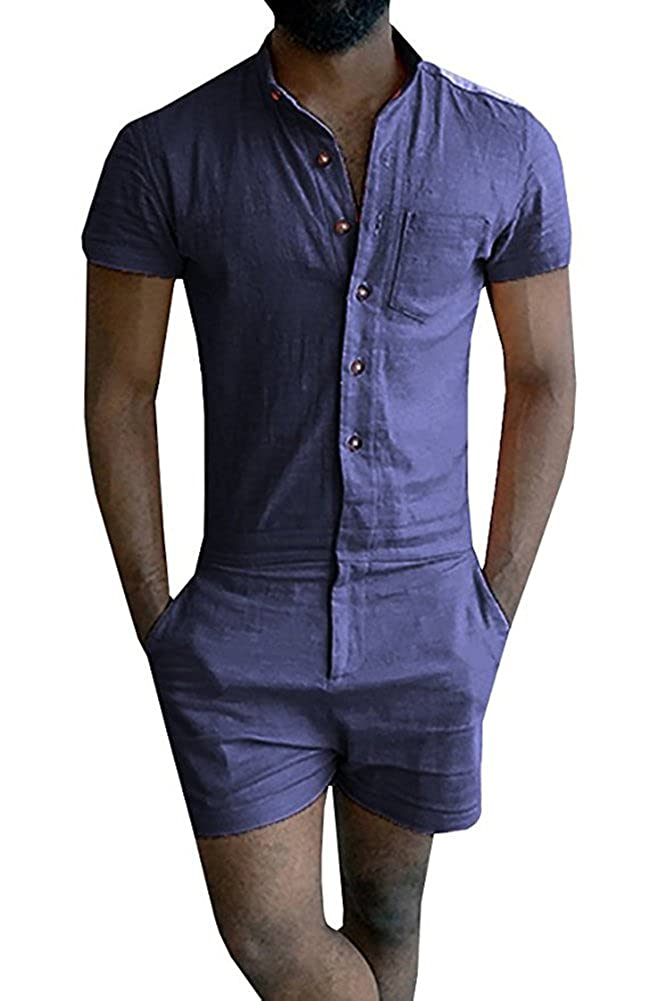 6ff1c5f3788 Chulianyouhuo Mens Short Sleeve Jumpsuit Casual Short Cargo Pants Rompers  Slim Fit Party Overalls Boyfriend Shorts at Amazon Men s Clothing store