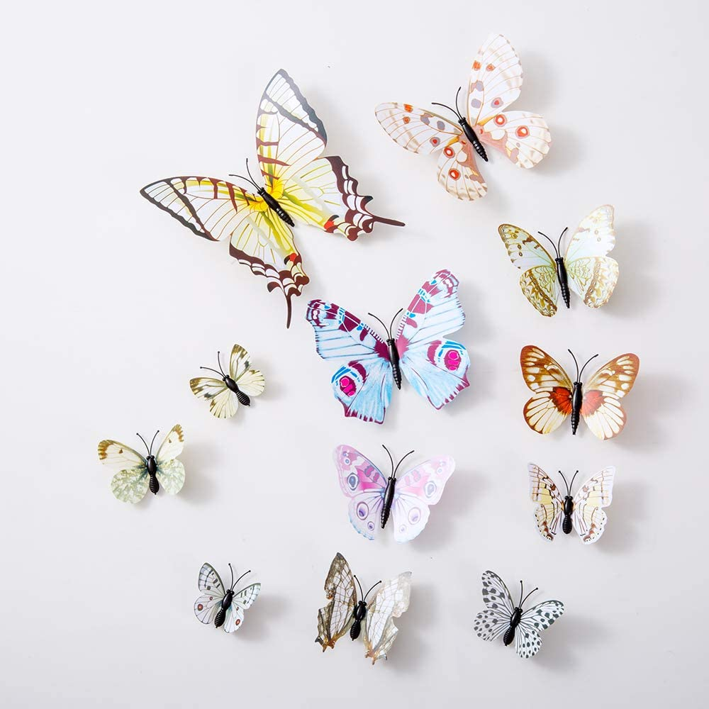 36PCS Butterfly Wall Decals - 3D Butterflies Decor for Wall Sticker Removable Mural Stickers Home Decoration Kids Room Bedroom Decor (White)