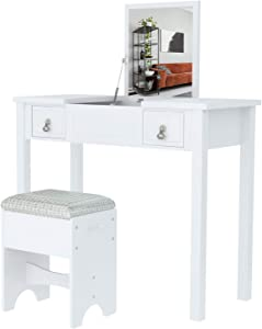 Mecor Makeup Vanity with Flip Top Mirror,Vanity Table Set/Cushioned Stool &2 Drawers,3 Removable Organizers Writing Desk Bedroom Bathroom Furniture Kids Girls Women Bedroom Furniture (White)