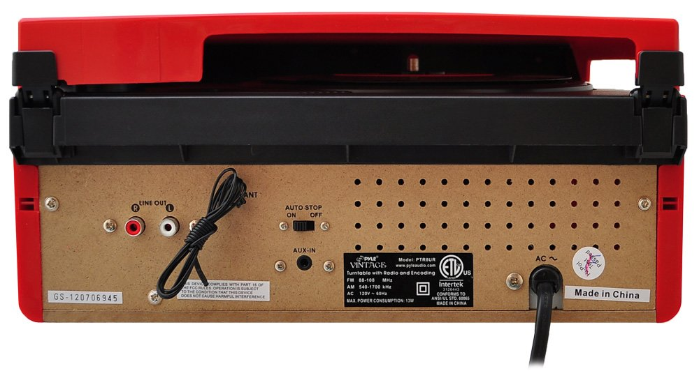 Pyle PTR8UR Retro Turntable with Vinyl-to-MP3 Encoding, USB & SD Memory Card Readers, AM/FM Radio, Aux (3.5mm) Input, MP3 Digital Audio File Playback (Red) by Pyle (Image #3)