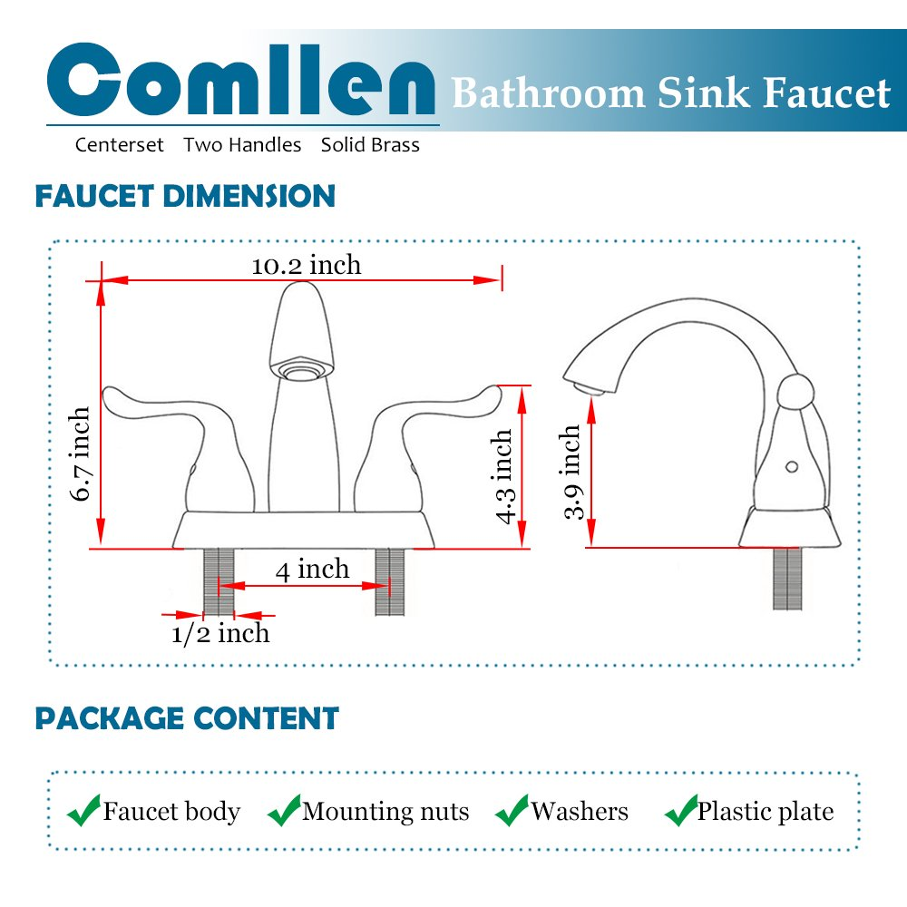 Comllen Solid Brass Body Vanity Lavatory Two Handle Brushed Nickel Bathroom Faucet, Heavy Duty Bathroom Sink Faucet (Hose Not Included)