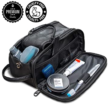 1089c628af84 Amazon.com   Toiletry Bag for Men or Women - Dopp Kit For Travel. Cruelty  Free Toiletries Organizer PU Leather Bags   Beauty