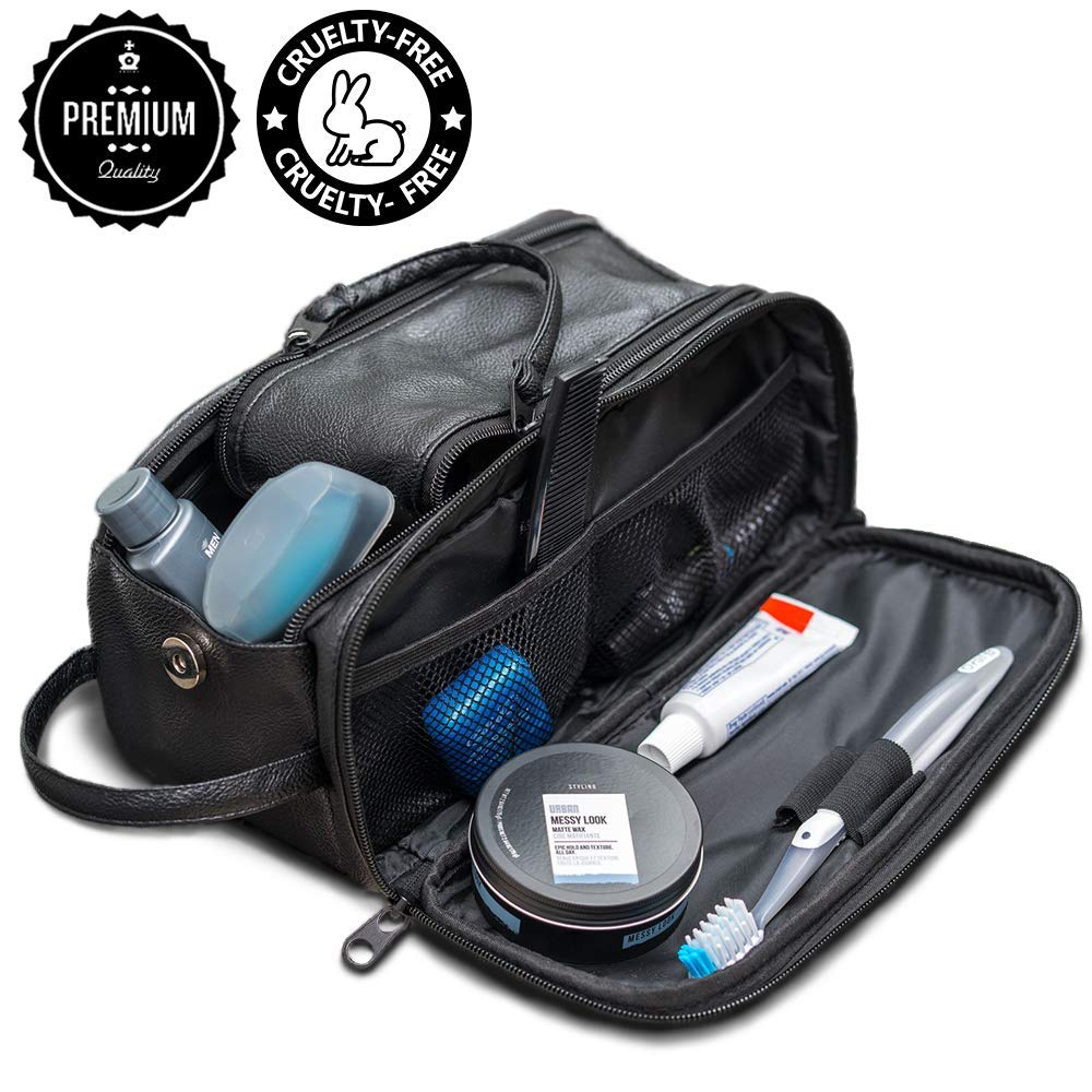 Toiletry Bag for Men or Women - Dopp Kit For Travel. Cruelty Free Toiletries Organizer PU Leather Bags