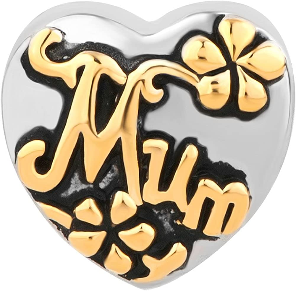 Uniqueen Best Mom Heart Charms On Bead fit Bracelet Mothers Gift