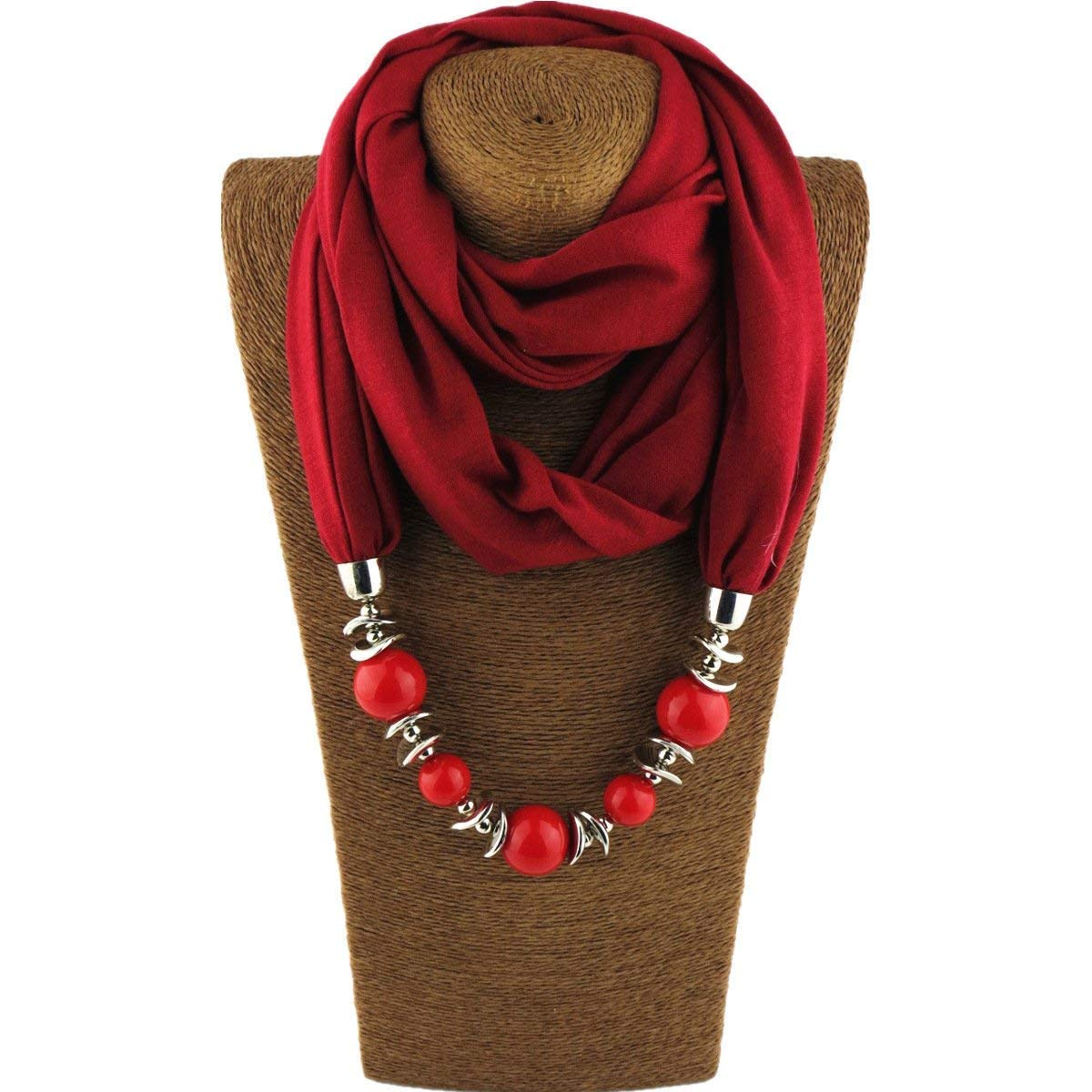 Classic Style Chiffon Necklace Sash Scarf with Jewelry Pendant (Wine Red 8)