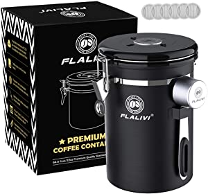 Flalivi Coffee Canister, Airtight Stainless Steel Coffee Storage Container with Scoop, for Beans Tea Coffee Sugar, Coffee Ground Vault Jar With One Way Co2 Valve (22OZ Black)