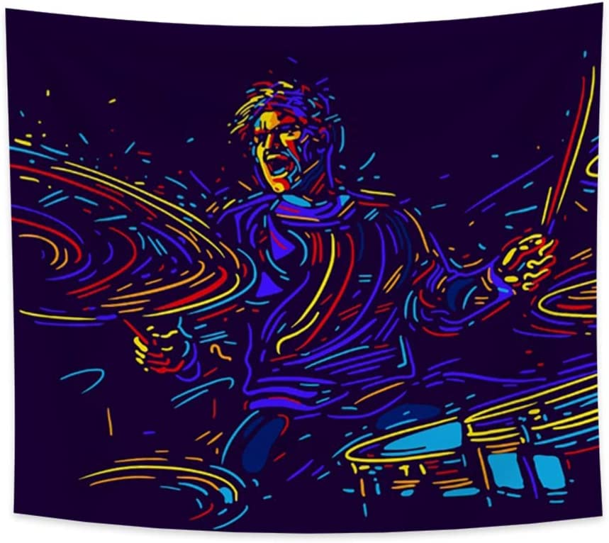 """Hidecor Musician with Drums Tapestry Abstract Art Colorful Line Paint Music Fans Poster Rock Drummer Player Concert Wall Hanging Dark Blue Polyester Blanket for Bedroom Dorm Bar Club Decor 33.9""""x27.6"""""""
