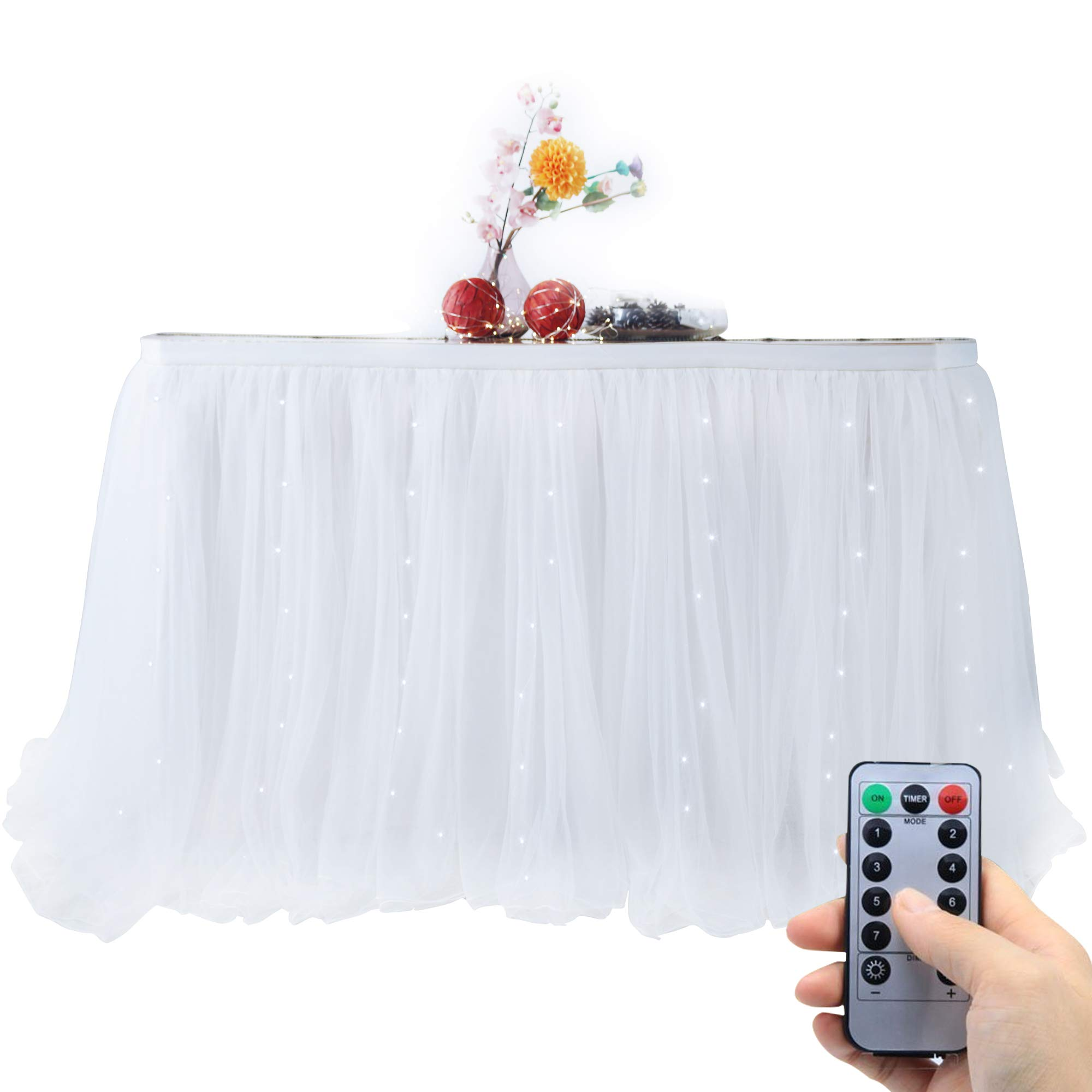 OakHaomie 10ft Table Skirt Tulle Tutu Table Cloth with 15pcs String Lights for Rectangle or Round Table for Party,Wedding,Birthday Party&Home Decoration,Table Skirting (White, 10ftX2.63ft) by OakHaomie