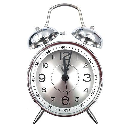 Retro reloj despertador, Vintage habitación reloj clásico casa gemelos Bell cuarzo mesa de reloj de la lámpara con ultra MUTE no tictac barrido ...