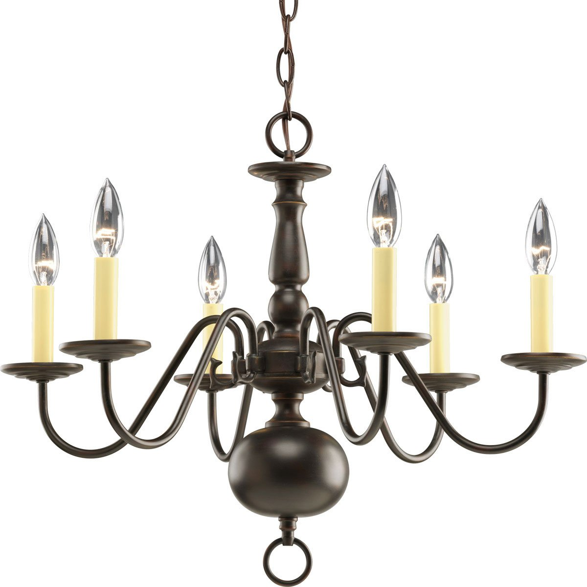 Progress lighting p4356 10 6 light americana chandelier with progress lighting p4356 10 6 light americana chandelier with delicate arms and decorative center column and candelabra lamps polished brass white column arubaitofo Image collections