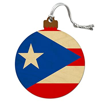 puerto rico country flag wood christmas tree holiday ornament