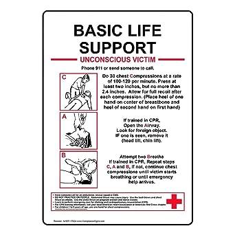 ComplianceSigns Vertical Aluminum Basic Life Support Unconscious