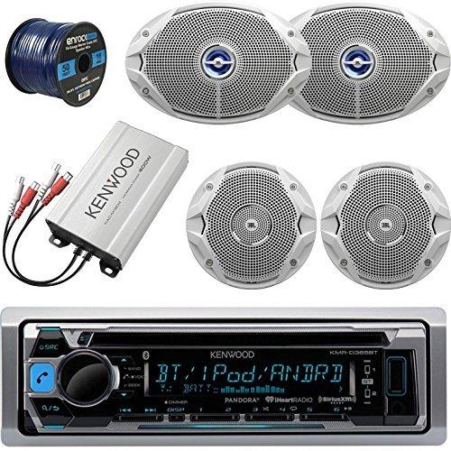 Kenwood KMRD365BT Bluetooth Marine CD Player Receiver Bundle Combo With Compact 400-Watt Amplifier + 2x JBL 6x9