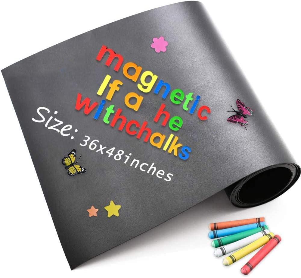 Ucmd Strong Magnetic Chalkboard For Wall Hold Magnets Black Board Contact Paper With Chalks Alphabet Magnets Alphabet Magnets Learning Writing Board 48 X 36 Inches Amazon Ca Office Products