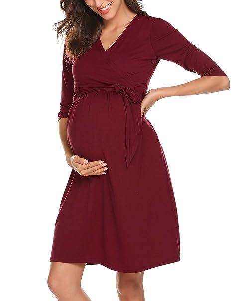 da483bfd8b81 Vestito da maternità Donna per Allattamento Abito di maternità Abito di  Gravidanza Scollo a V Elegante  Amazon.it  Abbigliamento