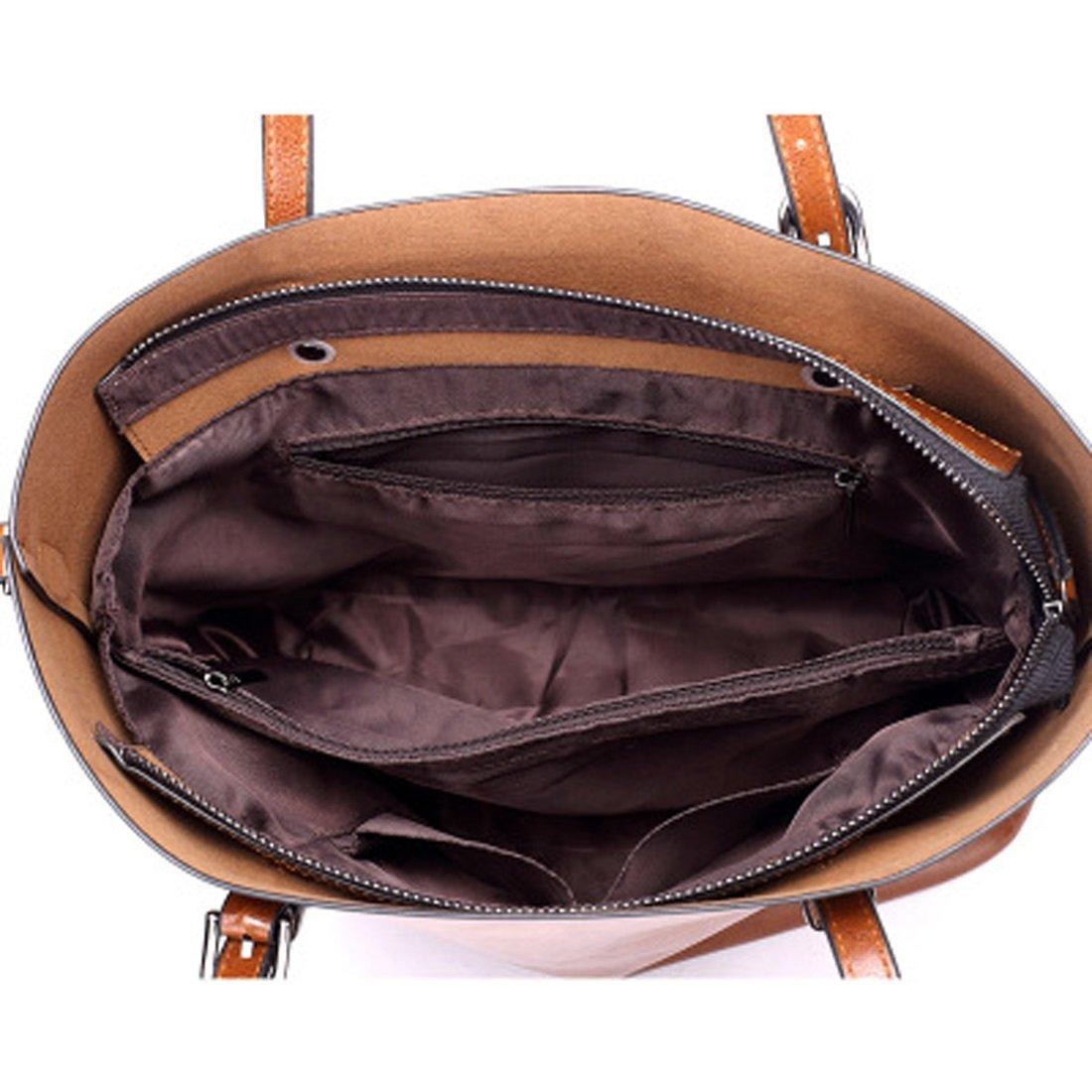 Women's Bags Handbags Shoulder Bags Genuine Leather Brown Big Casual All Seasons Black Coffee Brown Wine (Color : Brown) by WTING (Image #4)