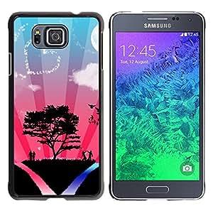 TopCaseStore / la caja del caucho duro de la cubierta de protección de la piel - Tree Love Couple Heart Sky Nature Romance - Samsung GALAXY ALPHA G850