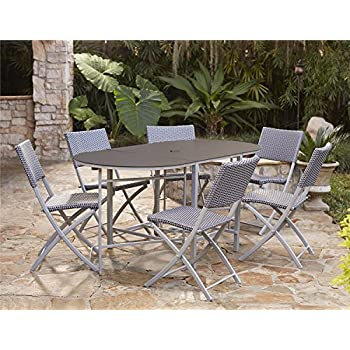 Cosco Outdoor Dining Set with Chair Storage Folding 7 Piece Navy and Gray  sc 1 st  Amazon.com & Amazon.com : Cosco Outdoor Dining Set with Chair Storage Folding 7 ...