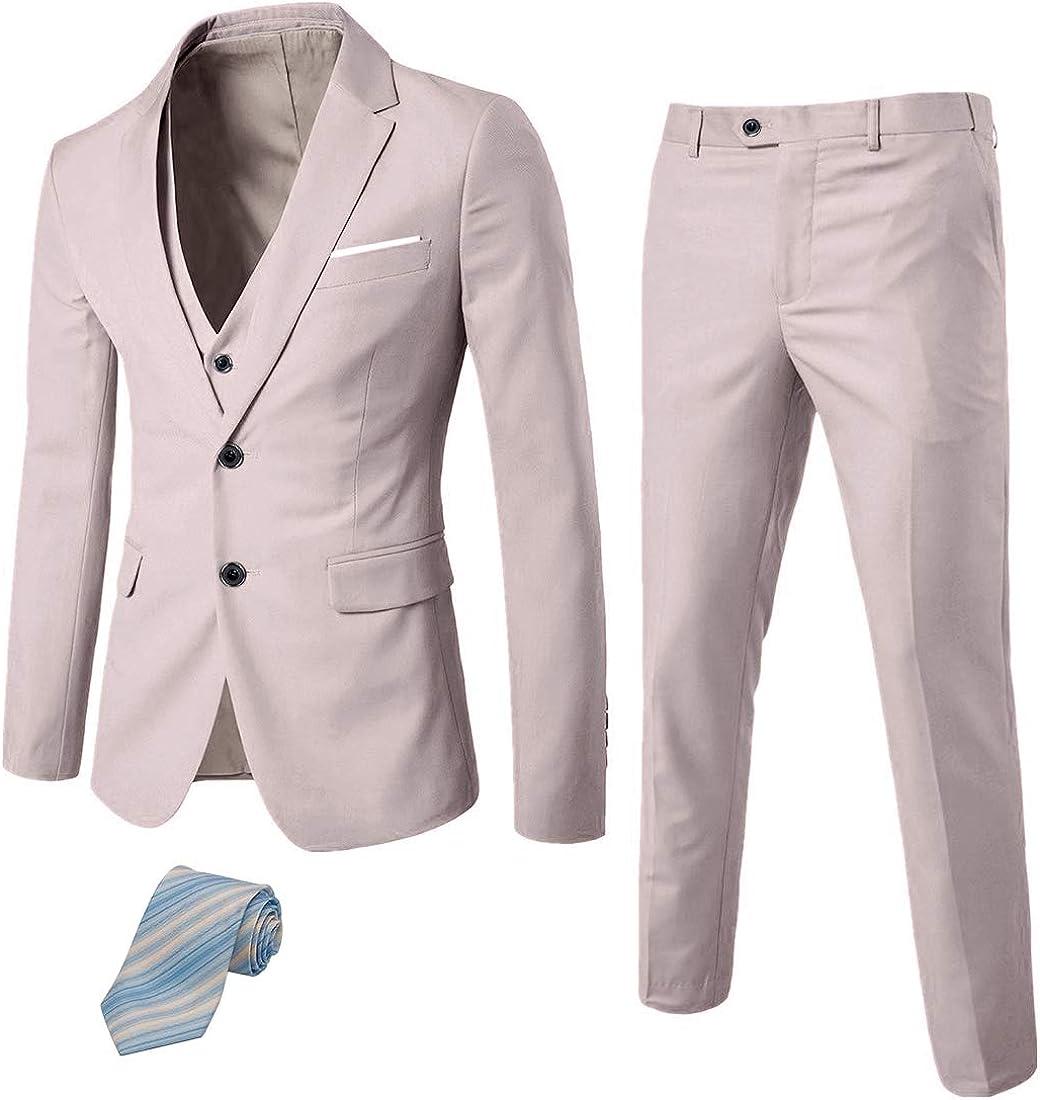 Solid Wedding Dress Tux and Trousers 2 Button Blazer Jacket Vest Pants with Tie MYS Mens 3 Piece Slim Fit Suit Set