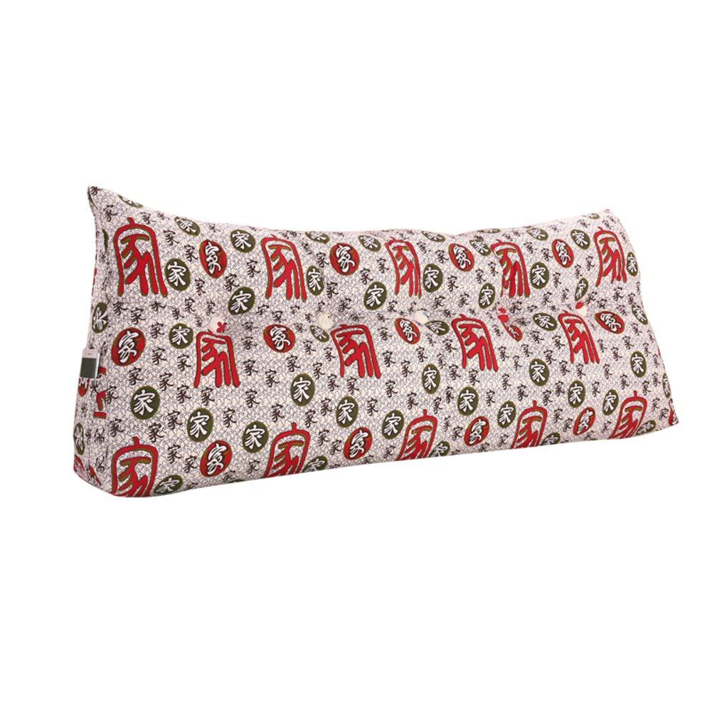 WENRAN Pp-Cotton Filled Triangular Wedge, Sofa Bedside Tatami Removable Bedside Triangular Wedge 100% Cotton Bedside Cushion-E 100x22.5x50cm(39x9x20)