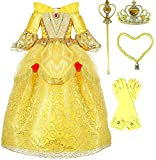 Princess Belle Deluxe Yellow Party Dress Costume (3-4, Style 2)