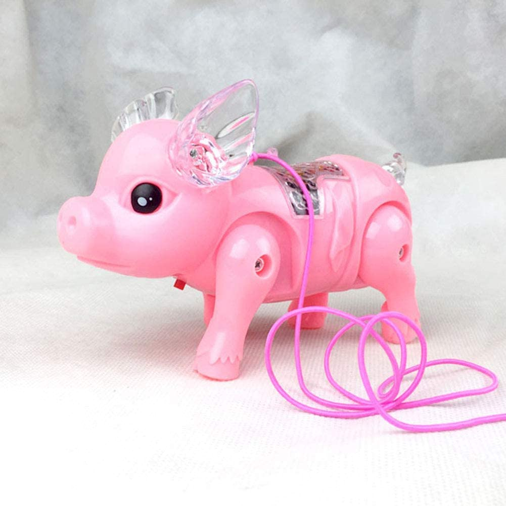 Children toys kids Gifts Educational Musical toys Can Sing Walk Shine Electronic Walking Pig Piglet with pull rope