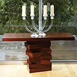 Stacked Squares Pedestal Console Table Rich Wood Modern Warm Block Contemporary