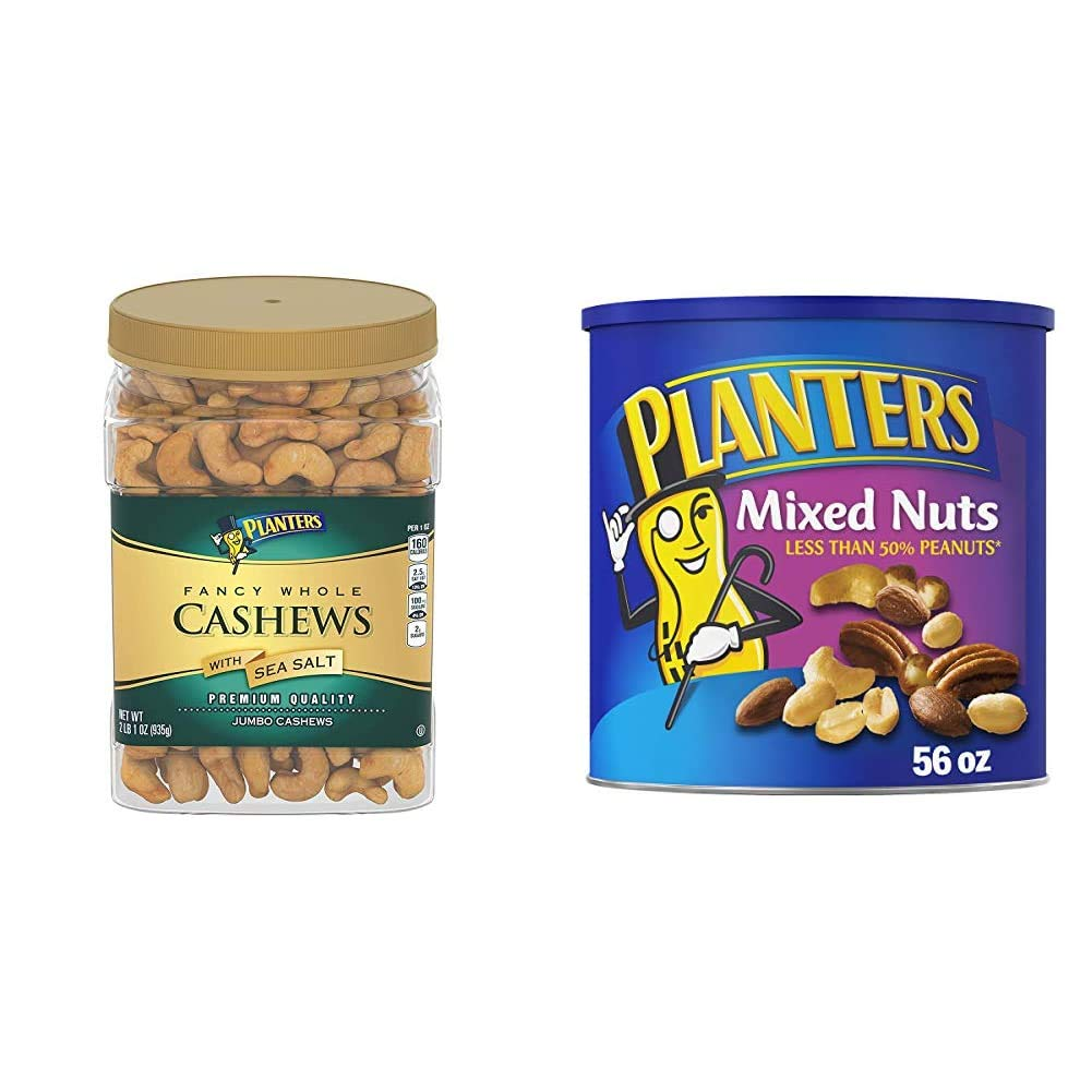 PLANTERS Fancy Whole Cashews with Sea Salt, 33 oz. Resealable Jar & Mixed Nuts with Sea Salt, 56 oz. Resealable Canister - Roasted Nuts: Less Than 50% Peanuts, Almonds, Cashews, Pecans & Hazelnuts