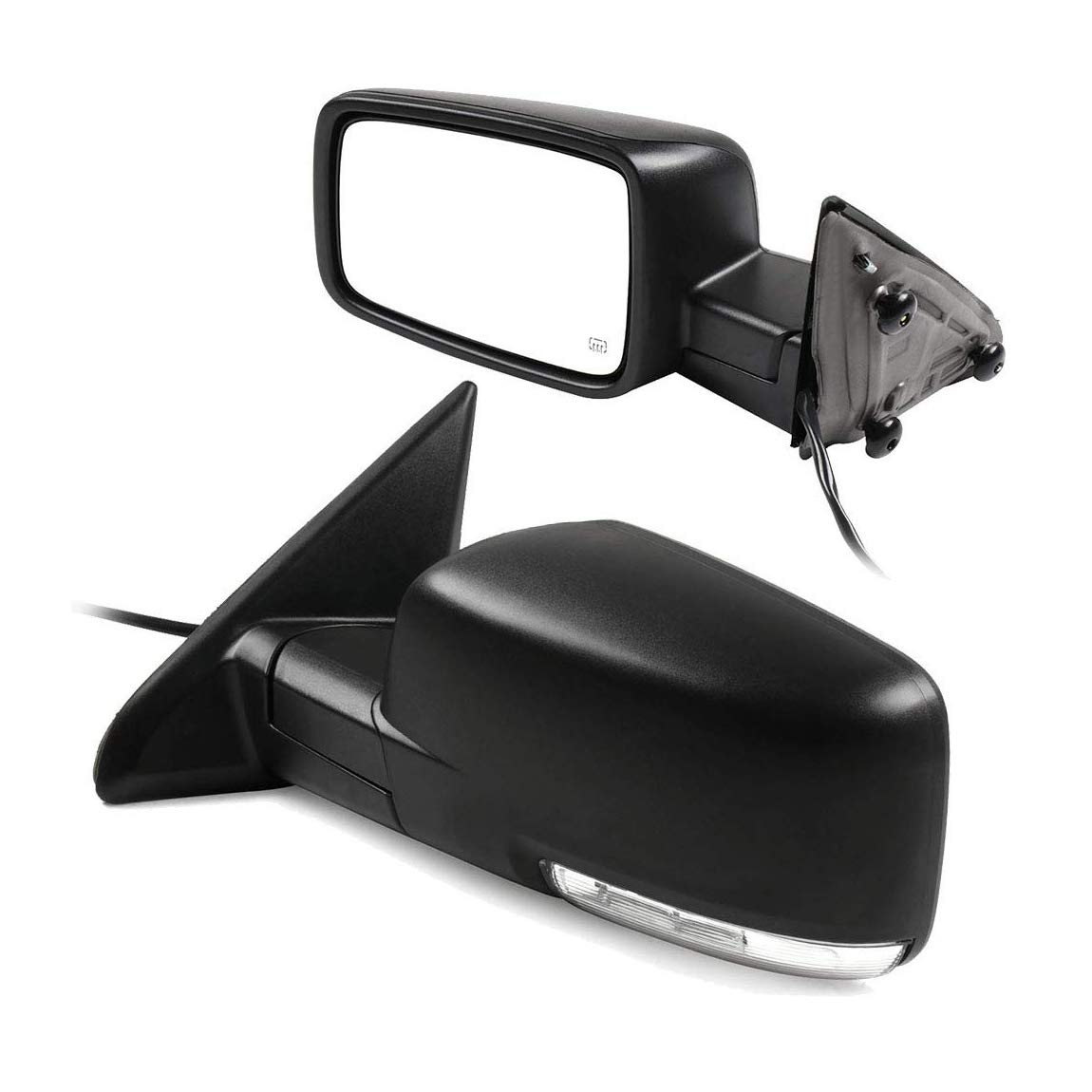 Puddle Lights Black Left Side Only Heated Turn Signal OE Style Replacement Side Mirror for 2009-12 Dodge Ram 1500 Powered Glass