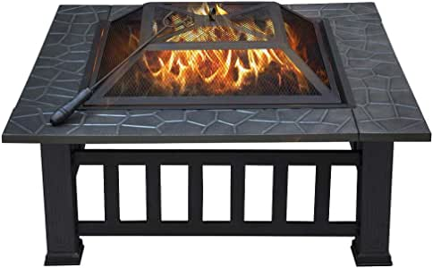 YAHEETECH 32in Outdoor Metal Firepit Square Table Backyard Patio Garden Stove Wood Burning Fire Pit with Spark Screen, Log Poker and Cover
