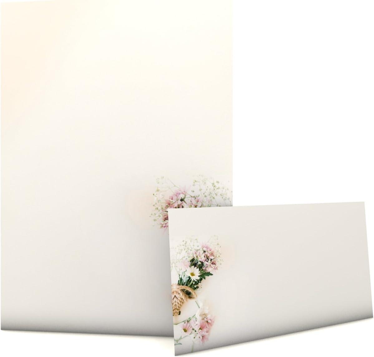 Motif bouquet de papier avec enveloppes printemps 50/feuilles A4/et 50/enveloppes assorties fleurs pastel printemps