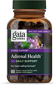 Gaia Herbs Adrenal Health Daily Support, Stress Relief and Adrenal Fatigue Supplement, Holy Basil, Ashwagandha, Rhodiola Adrenal Complex, Vegan Liquid Capsules, 120 Count