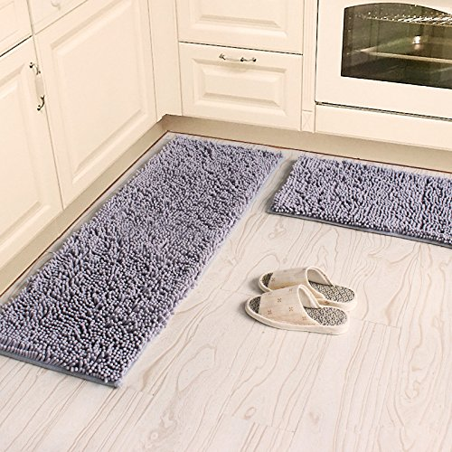 Ustide 2-Piece Kitchen Rug Set Soft Shag Chenille Rug Grey Bathroom Mats Anti-Slip Absorbent Floor Rugs Carpet