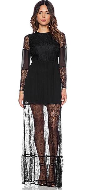 162733816 Moda Flores Detalles de Encaje Transparente Malla Dos Capas Doble Capa  Larga Largo Maxi Completa Falda Vestido en línea Pliegues Plisado Vuelo  Vestido Negro ...